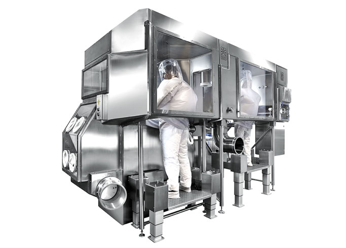 Half-suit milling and blending Containment Isolator